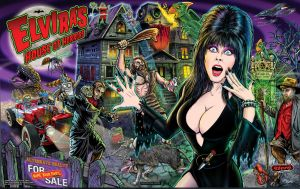 Elvira House of Horrors Pinball Backglass