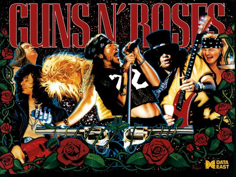 Data East Guns N Roses Pinball Translite