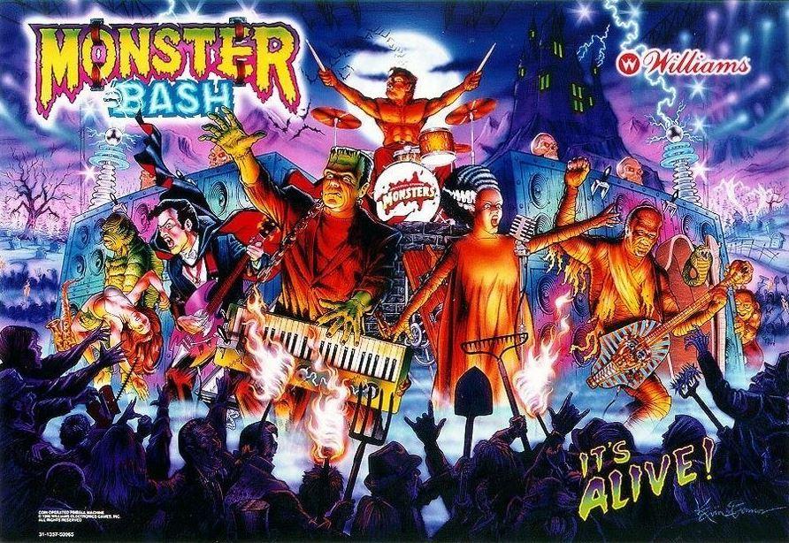 Monster Bash Pinball Backglass