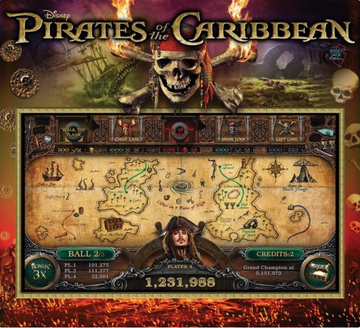 Pirates of the Caribbean JJP Backglass