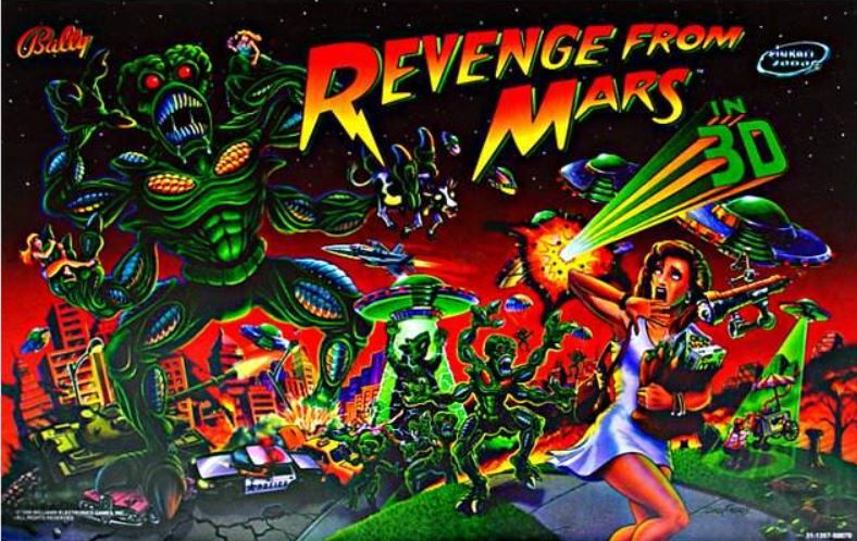 Revenge From Mars Pinball Backglass