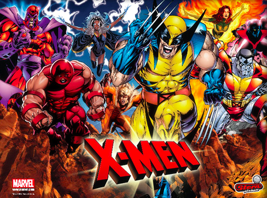 X Men Pinball Machine Backglass