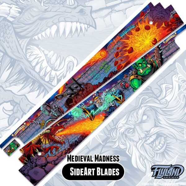 Medieval Madness Side Art Blade Decals for Pinball Machines